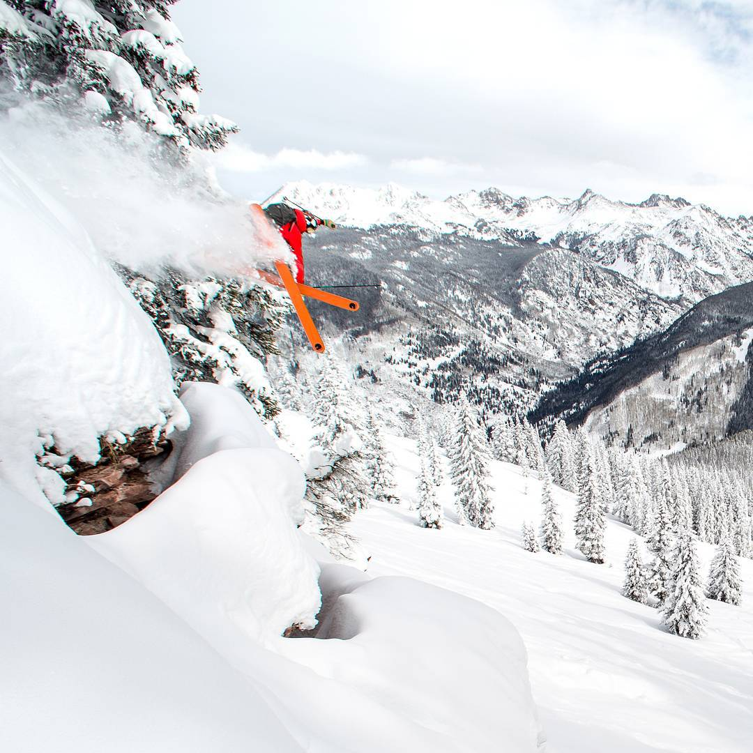 Athlete Sean Delaney getting some air time this last cycle. #colorado #powder #skiing #mountains @benkoelkerphoto