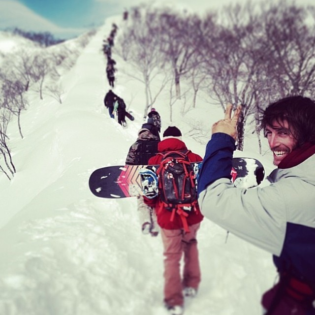 Such a rad shot of @laneknaack  hiking the ridge line with the rest of our crew on this winters #smokinJapan trip