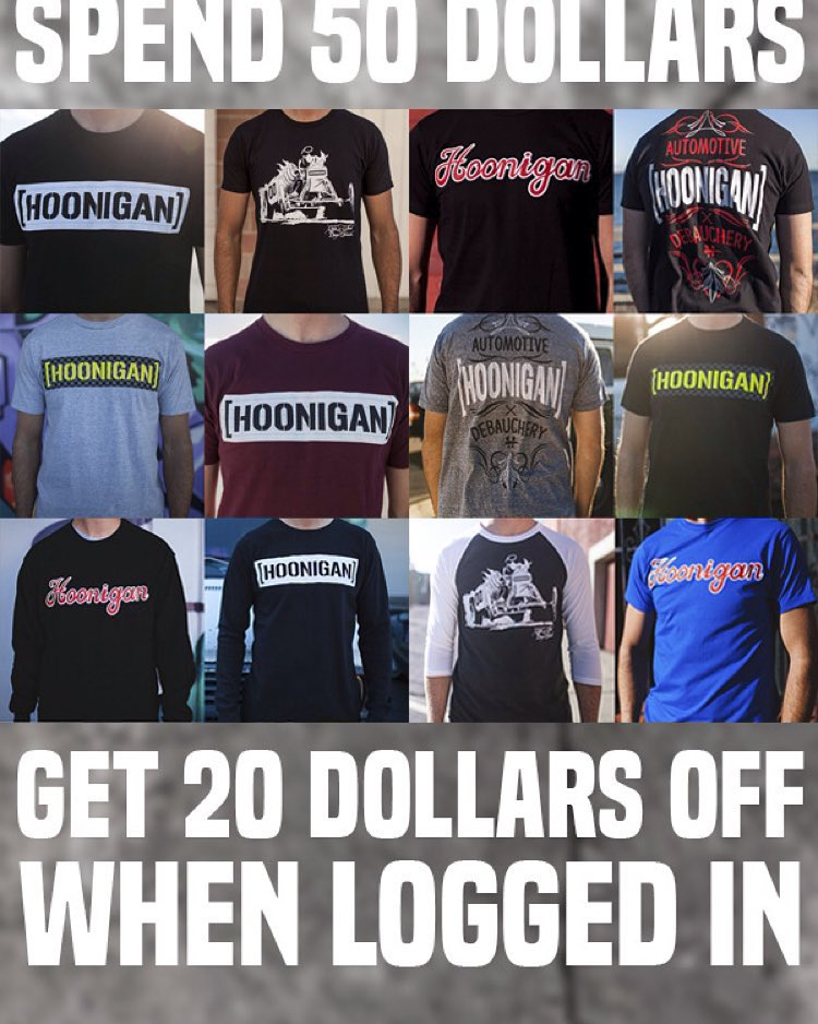 FREE MONEY: We're giving out $20 off you're next purchase when you LOGIN and spend 50 or more on #hooniganDOTcom.