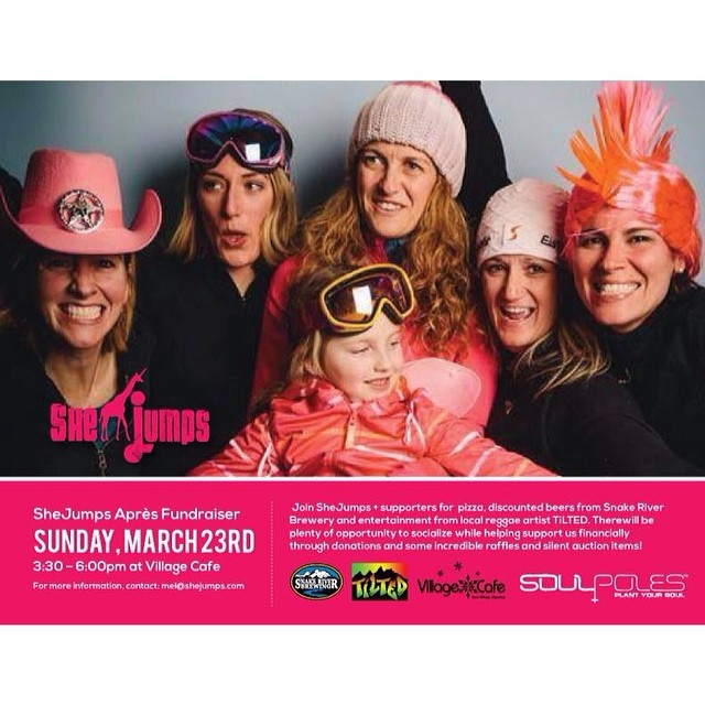 We can not wait to be up at @Jacksonhole for the @shejumps #ApresFundraiser this #Sunday at the #VillageCafe with @snakeriverbrew and reggae music from #Tilted.  Come out, wear your neon, and let's shred and party to support the#JHBabeForce and...