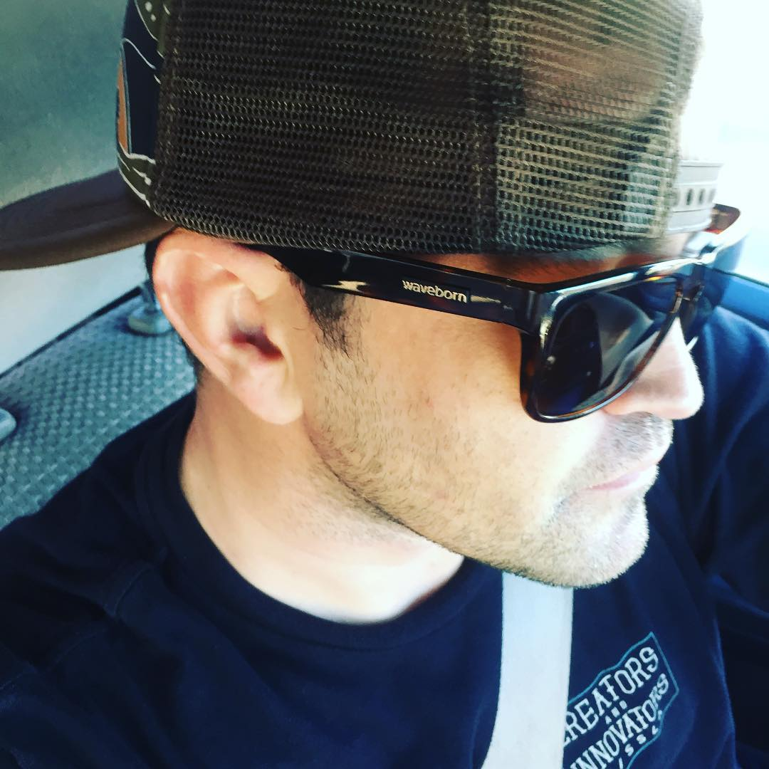 Waveborn's newest brand ambassador, Matt, is rocking the black and tort #beacons in #california #waveborn #findthesun