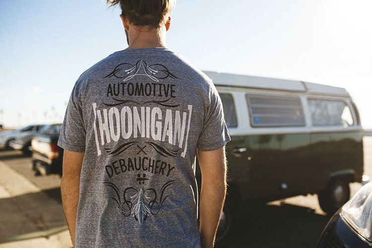 "Grab the Automotive Debauchery tee and you're halfway to getting 20 bucks thrown back at you for your next HNGN purchase. The ""Spend 50 get 20"" deal is ending soon and only available on #hooniganDOTcom (link in bio)."