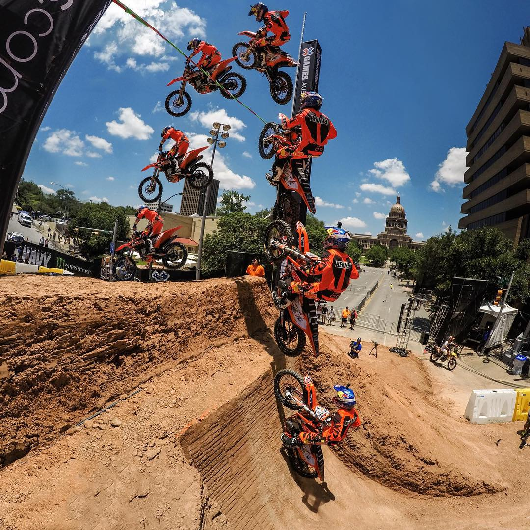 Top 5 Athlete Fete: #3  @rendawgfmx jumps 39 feet 6 inches to take home the gold in Moto X Step Up @XGames #Austin. #GoProMoto #AreYouKiddingMe #RonnieRenner