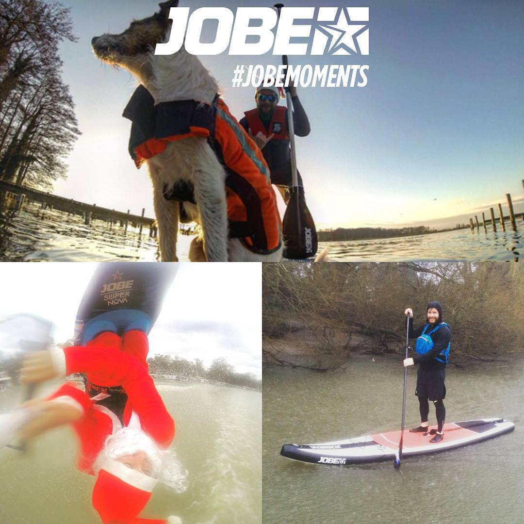 From SUPping with the dog to a Santa flipping out on his kneeboard. @elllissssss @eelpieislandclubsup and @suparound.de made some awesome holiday #jobemoments  Make sure you share your #jobemoments during the holidays