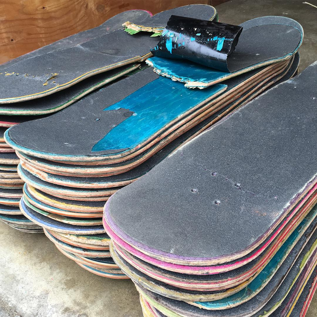 In 2015 we peeled grip tape off over 4,000 used skateboards. I'd like to give a big THANK YOU to all the skateboarders out there shredding everyday and to all the skate shops for their used skateboard donations. Your contribution not only keeps boards...