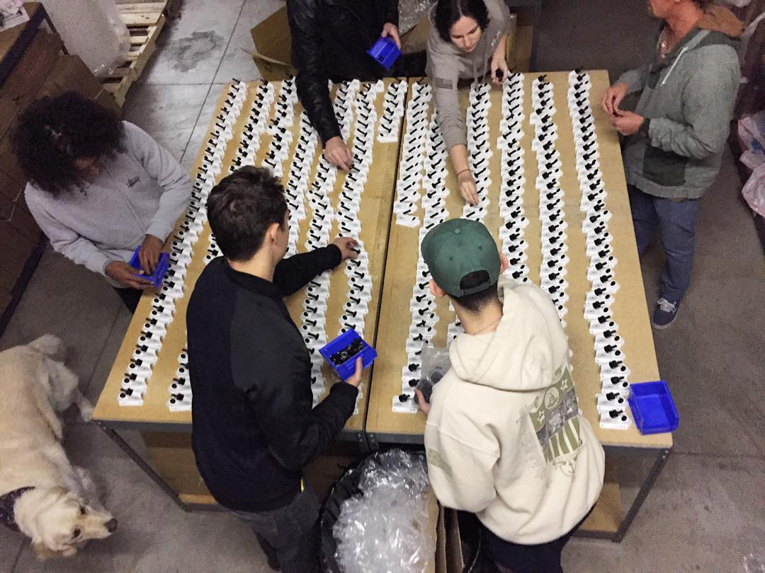 And we are off! Assembly of all the boards is underway! #jellyskateboards #warehouse #party