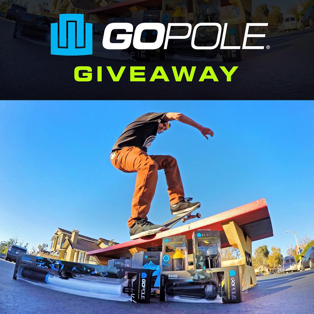 Want to win a GoPole Bundle for you and a friend? Follow @greglutzka for more information on how to enter and win! Good Luck. #gopro #gopole #skateboarding #gopolebase