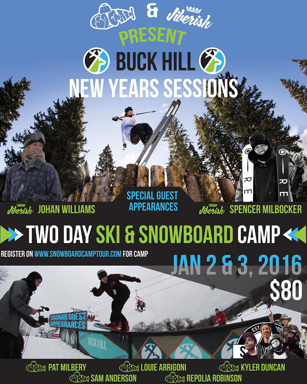 Start the new year off right with a shred sesh!! We are teaming up with @jiberish for our first ever SKI AND SNOWBOARD CAMP at @buckhill!! @jonahwilliams & @milbocker will be  guest coaches along with @louiearrigoni, @patmilbery, @repolia,...