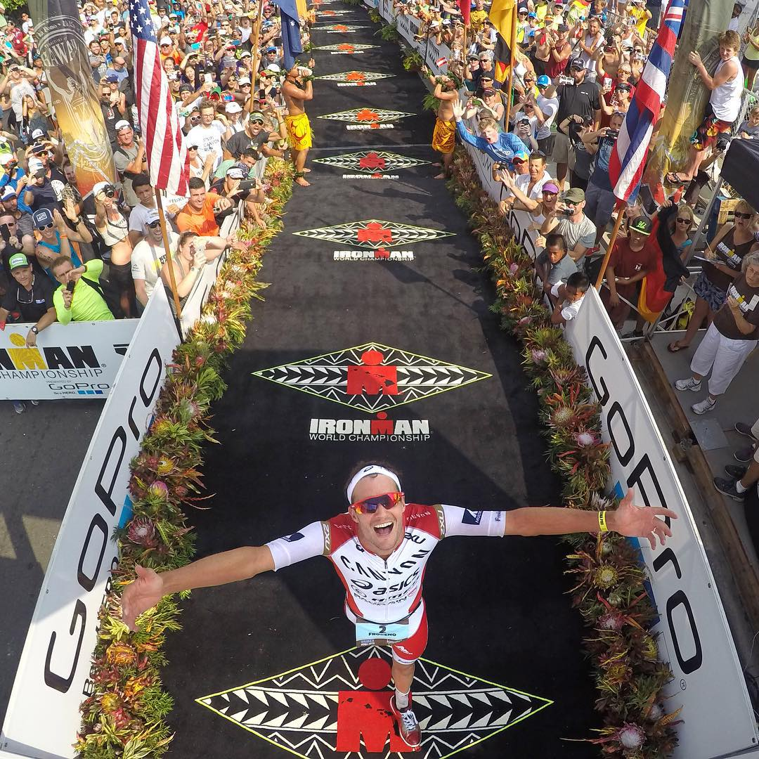 GoPro Featured Photographer - @donaldmiralle  About the Shot: @JanFrodeno of Germany crosses the finish line with a time of 8:14:40 becoming the new Ironman World Champion during the 2015 Ironman World Championships in Kailua-Kona, Hawaii on October...