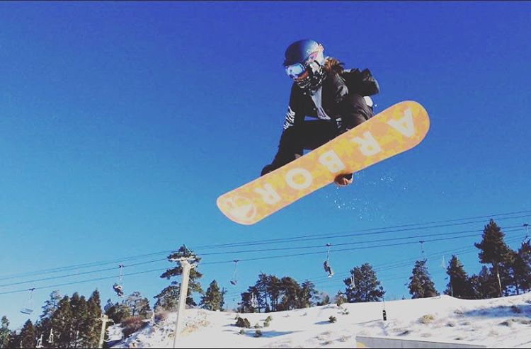 Team rider @taratatethegreat jumps into 2016 @bear_mountain! Wishing everyone health, happiness and love in the New Year  #xshelmets #xssocks #bearmountain #snowboarding #2016