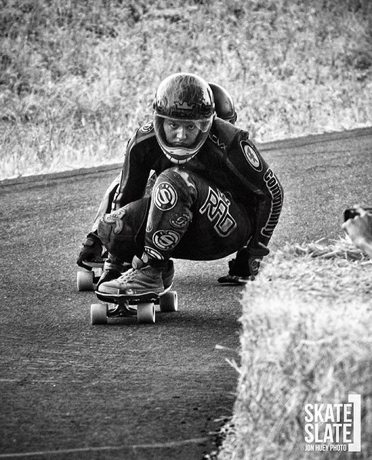 Determination.  2015 @idfracing Women World Champion @emilylongboards is on the cover of @skateslate. @honjuey photo.  #longboardgirlscrew #radness #womensupportingwomen #skatelikeagirl #emilypross #skateslate #lgcusa
