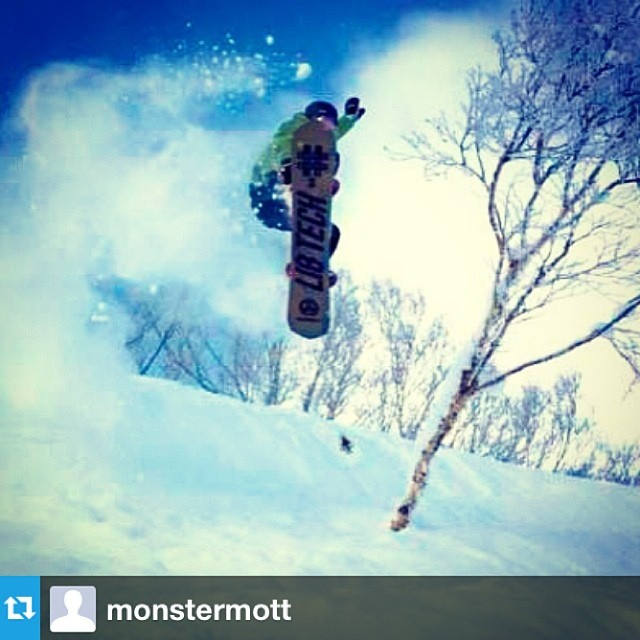Meanwhile in Japan... The powfest continues for the #3 #passitonproject board. #Regram from @monstermott @libtechnologies