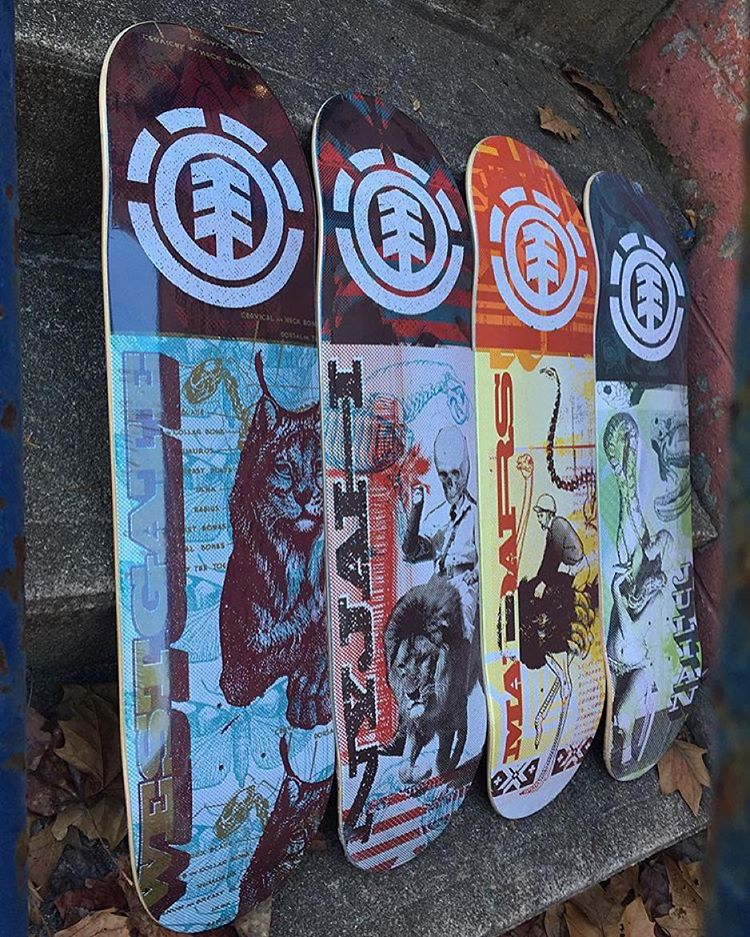 "@exodusskateshop has a fresh supply of #elementskateboards to get you started for the new year >>> 'overprint' series in store now, sizing from left to right 8"" - 8"" - 8.25"" - 8.3"" >>> thanks for the love! #supportyourlocalskateshop"