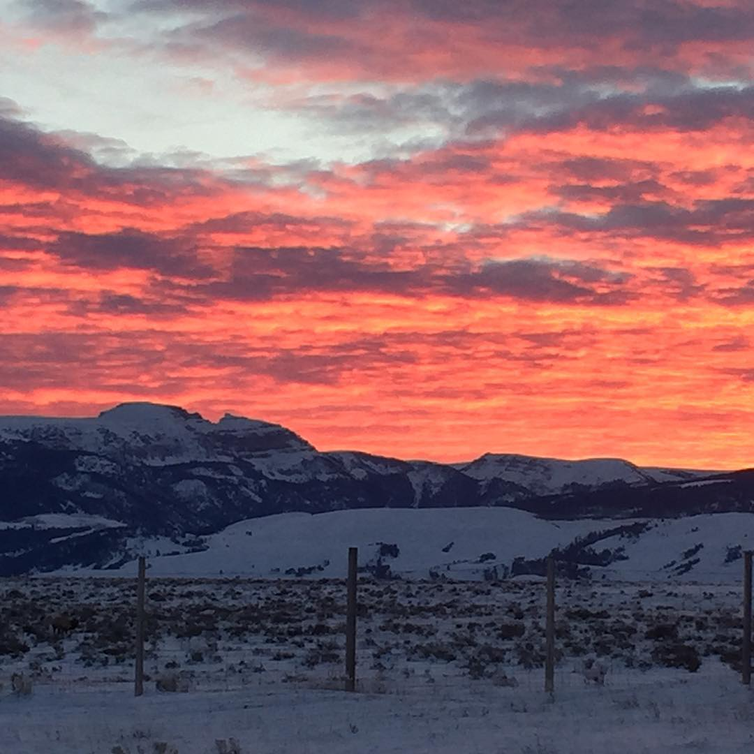 The Sleeping Indian awakens to a pretty choice sunrise here in Jackson Hole.  #sundaynotsoscaries #jhdreaming