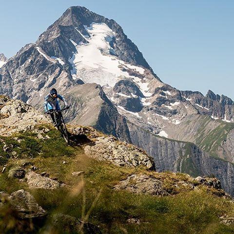 "Epic views! @lorisvergier putting the mountain back into ""Mountain Biking"" #SixSixOne #661Protection Photo - Dave Trumpore #ProtectFun"