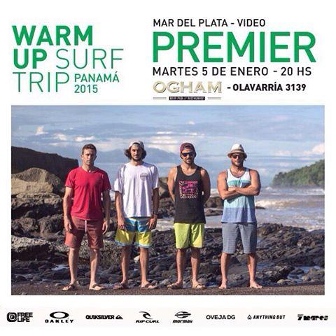 WARM UP SURF TRIP  MAR DEL PLATA PREMIER  @maxisirisurf @lucassantamaria  @nahuelrull y @chelosurfing viajaron por Panamá para disfrutar de sus increíbles olas.  Este martes 5 - 20hs - en @oghammdp presentamos el video del viaje - los esperamos...