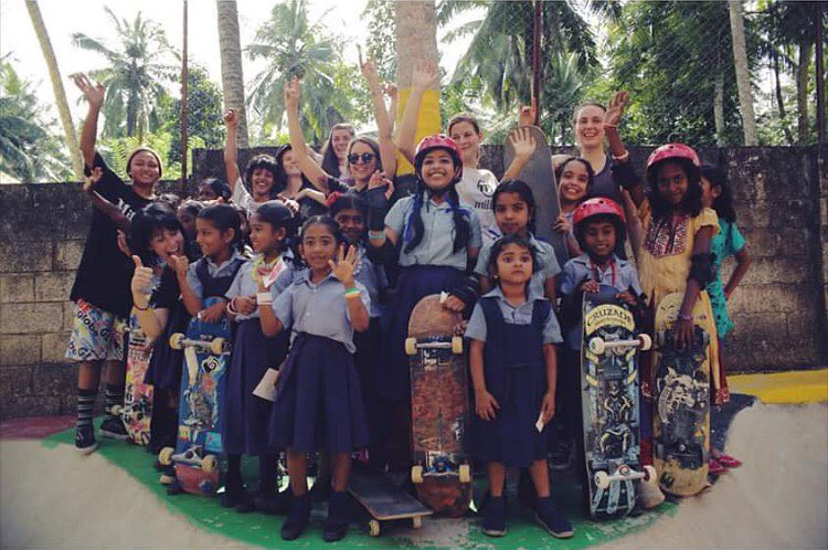 @girlskateindia Tour Day 2! Teaching the girls in Kovalam