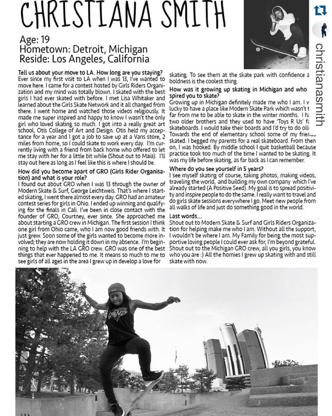 Check out GRO rider @christianasmith in @theskatewitches zine Link in bio ・・・ Get that new @theskatewitches zine