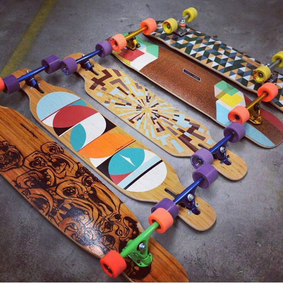 Oh what a graceful group of steads just casually laying around the @sickboardshop waiting for some one to take them for a ride.  Role Call! Who's got what out there?! #LoadedBoards #Bhangra #DervishSama #Tesseract #Kanthaka #TanTien