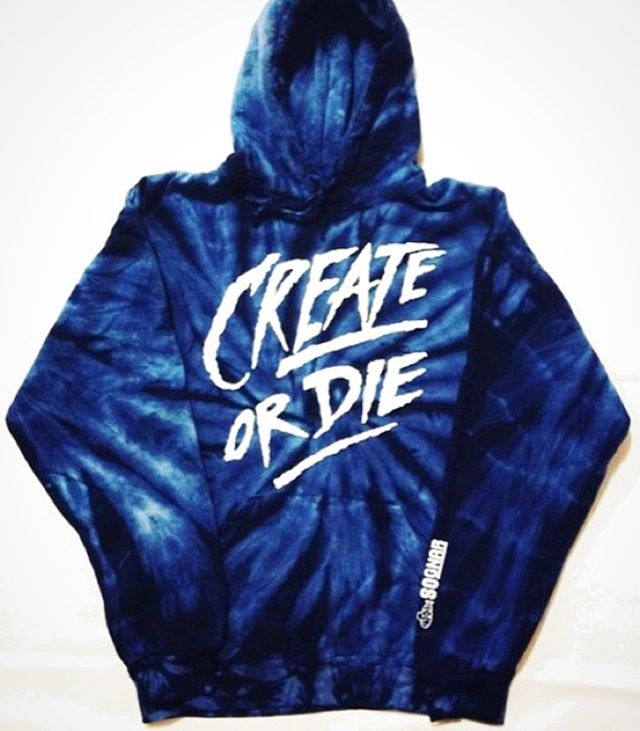 Only a handful of Create or Die Dark Blue Tie-Dye Hoodies are left in stock!! // Make sure you start your New Year off right with some fresh L