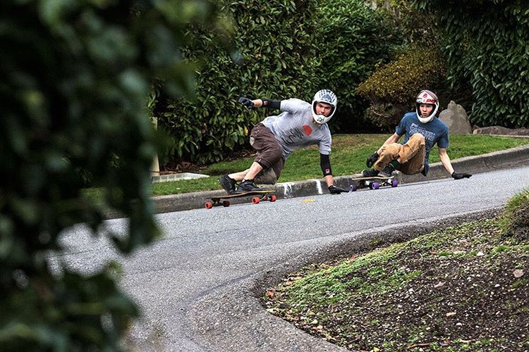 Team rider Spencer Smith (@speedscientist) out for a rip with the homie Adam Little (@adamlittleskate) of @subsonicskateboards last week in Seattle that made it as one of @skateslate's #sksinstabanger. (Photo by @equalmotion) #dblongboards #longboard...
