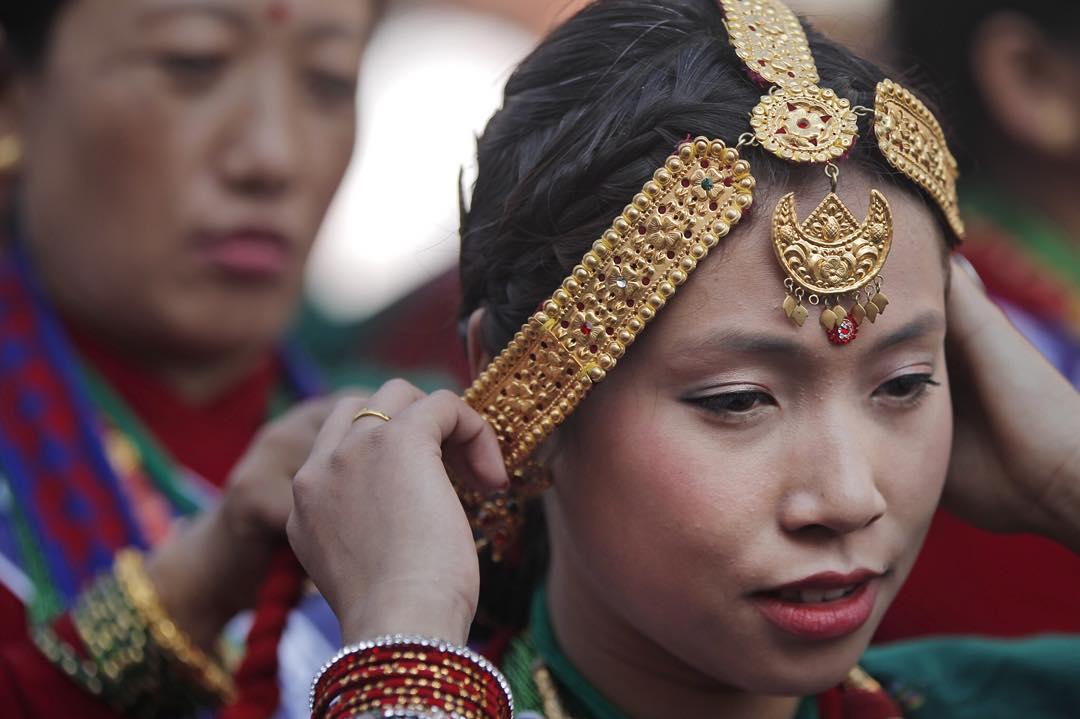 Preparing for the Gurung New Year in Kathmandu.