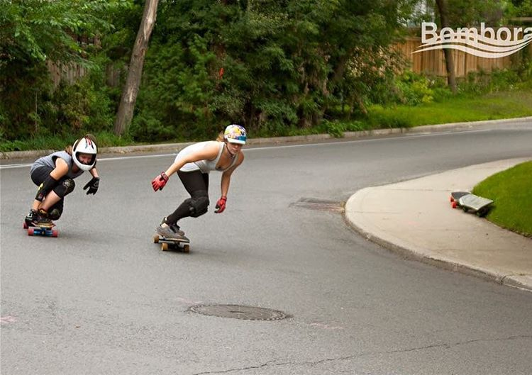 LGC Canada riders @morrahjane & @gimpcricket sharing runs. Skating with your friends just makes it better, doesn't it?  Bambora Boards photo.  #skatewithfriends #longboardgirlscrew #womensupportingwomem #skatelikeagirl #lgc #lgccanada #mizmolly...