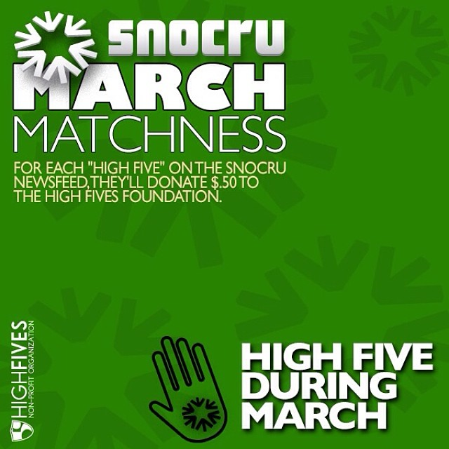 "The 5,000th ""High Five"" on the @snocru app's Newsfeed this month will win a rad prize package! Join #MarchMatchness with $.50 being donated each time you ✋ a post. The FREE mobile app has just been updated making it easier to #TurnTheMountainsOn 