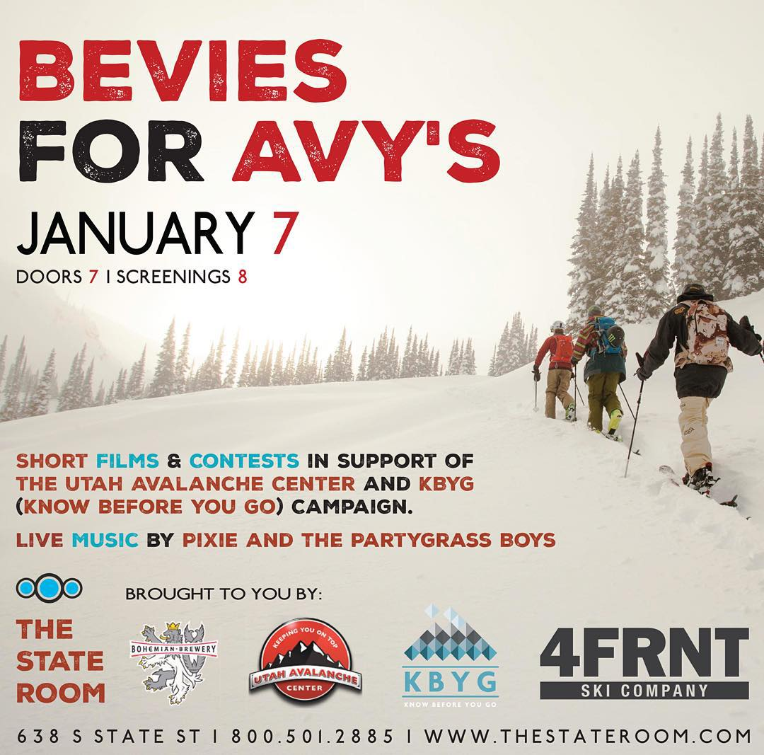This Thursday Jan. 7th - 4FRNT Skis presents short films and contests in support of @utavy Come down and celebrate the beautiful Wasatch mountains we get to call home and take note on a few avalanche safety reminders to keep you and your friends safe...