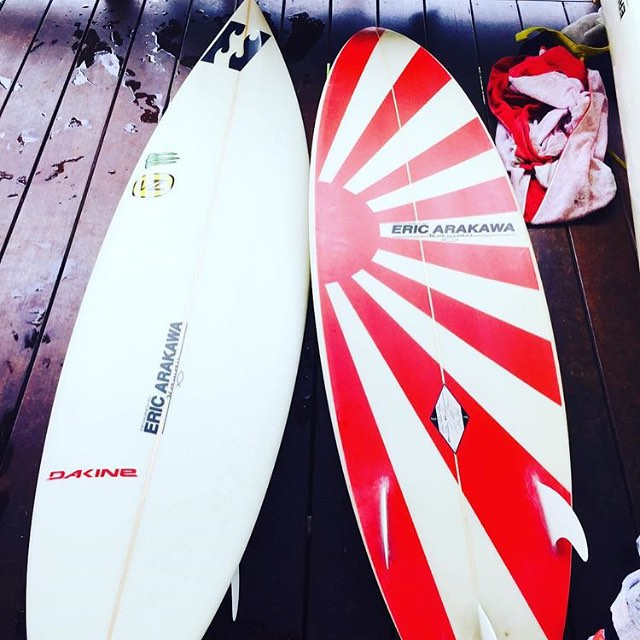 The last untouched Andy Irons 'Rising Sun' Arakawas from 2009. Thanks @logandulien for the photo and info on these amazing boards. #AIForever @ericarakawadesigns