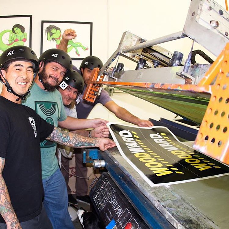 @grayslide and @jonjonbryan And crew at the #inkgenda sticker printing facility in #costamesa ! #s1lifers #lifers thanks for the support guys ! #skateboarding #stickermakers #skatehelmets #woodwardcampstickers