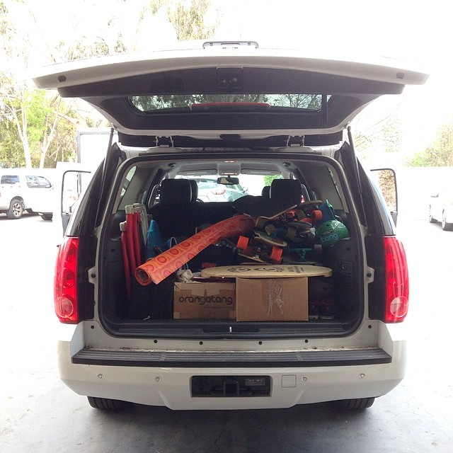 Packed up and ready to roll out to the #MorroBayFunfest with @loadedboards and @orangatangwheels!