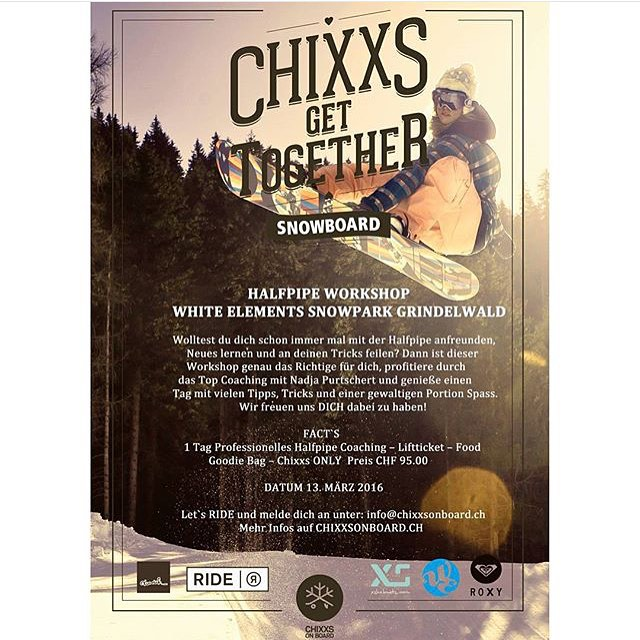 XS is a proud sponsor of @chixxsonboard camps in 2016! Don't forget to register for the Halfpipe Workshop and get some