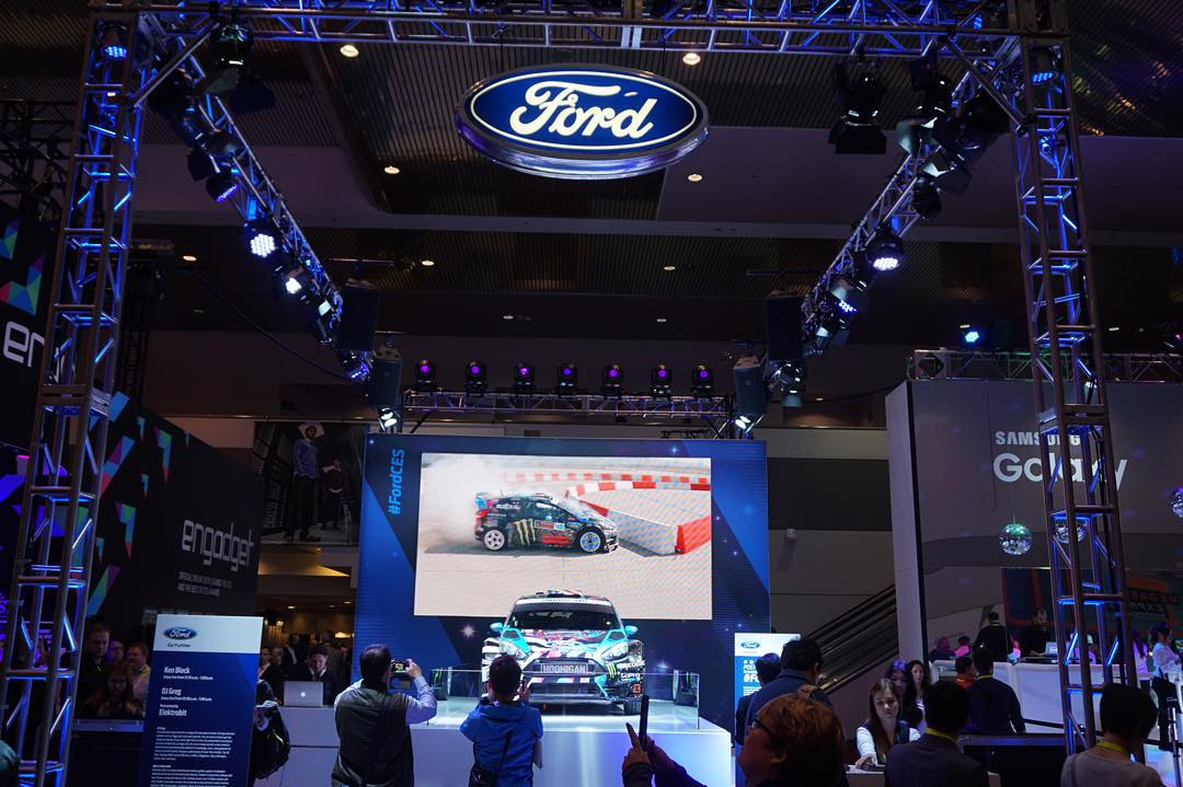 Hello from the show floor here at #CES2016! If you're cruising through the main lobby, be sure to swing by the Ford display and checkout my Ford Fiesta HFHV racecar that's on display. @Ford has a great display showing my car and a montage of my...