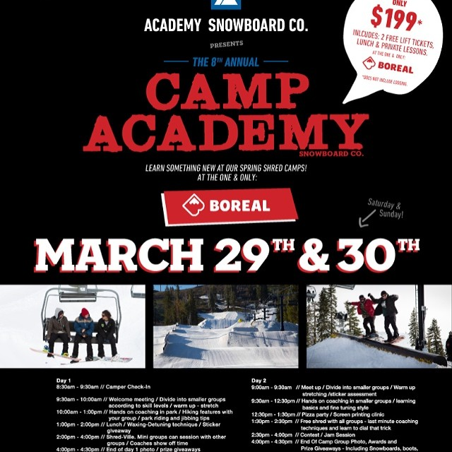 Only 1 week away!! The 8th annual Camp Academy @borealmtn @woodwardtahoe  sign up deadline is March 25th!!