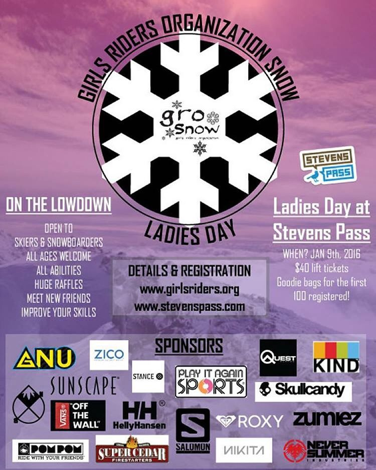 GRO snow's ladies day is this Saturday @stevenspass ❄️⛄️