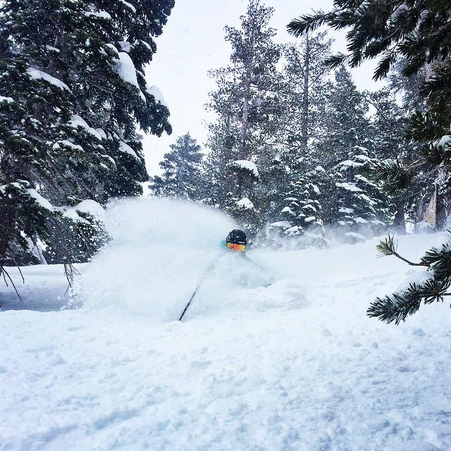 @hazelbirnbaum getting barreled @kirkwoodmtn today! We are two happy girls having and amazing day outside! @kirkwoodmtn #epicteam #epicpass #strongwomen #ski #snowboard #girlsjustwannahavefun #gamechanger