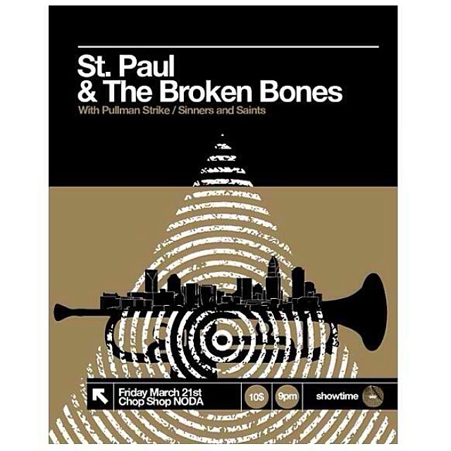 The homies @inkfloyd printed these flyers for @stpaulandthebrokenbones playing tonight at the Chop Shop Noda // also Nomadic playing at Roux bar Noda // good tunes tonight, can't go wrong with either.  #noda #charlotte #goodmusic #livemusic #stzlife