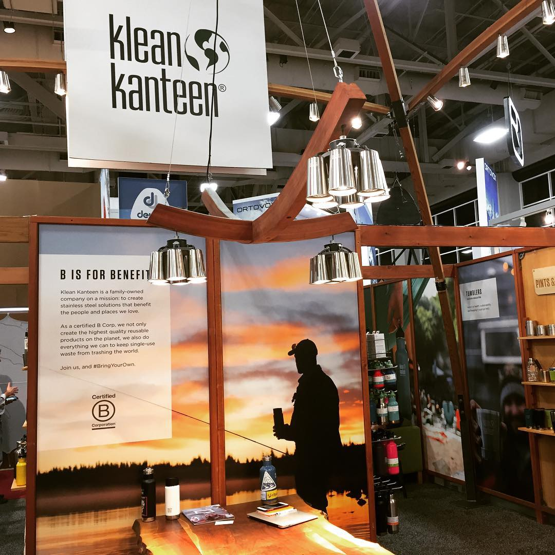 always setting the bar high w/ the beautiful (B)ooth design at Outdoor Retailer @kleankanteen w/ the help of fellow B Corp: Walden Hyde for this sunrise shot. #BringYourOwn #BtheChange check out those stainless steel chandeliers!
