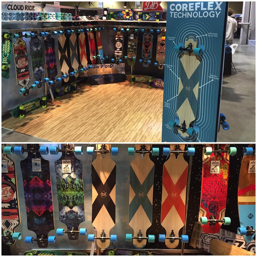 We are at the @agendashow in Long Beach, California! Stop by our booth if you are at the show and checkout the sneak peak at our 2016 line! #dblongboards #agendashow #longbeach #longboard #longboarding #coreflex