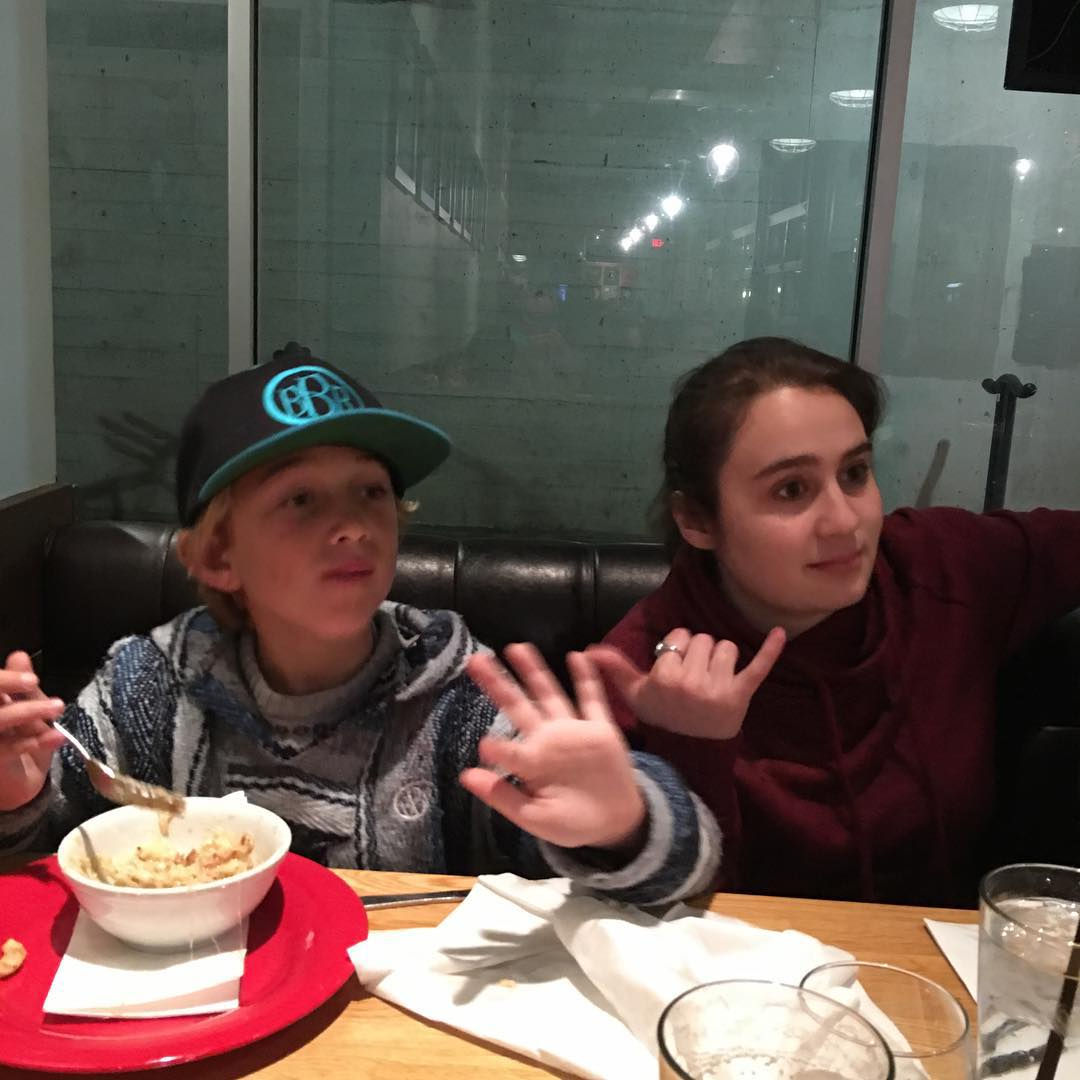 Sammie and Benjamin hanging at dinner just before the rampant wild gray wolf walked in front of our car in Long Beach. Crazy!  #ogsurfandskate #sammiecakes #bbr #bbrsurf #bbrsurfwear #buccaneerboardriders