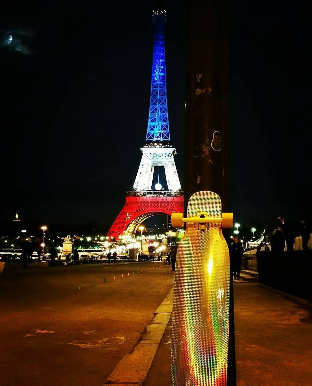 Repost from @parislongboardurbanghost of a dazzling night time shot of the Eiffel Tower getting lit while a 70's Disco Bhangra shows off every color in the book.  #LoadedBoards #DiscoBhangra #EifflTower #Trocadero #Docksessions #parislongboardurbanghost