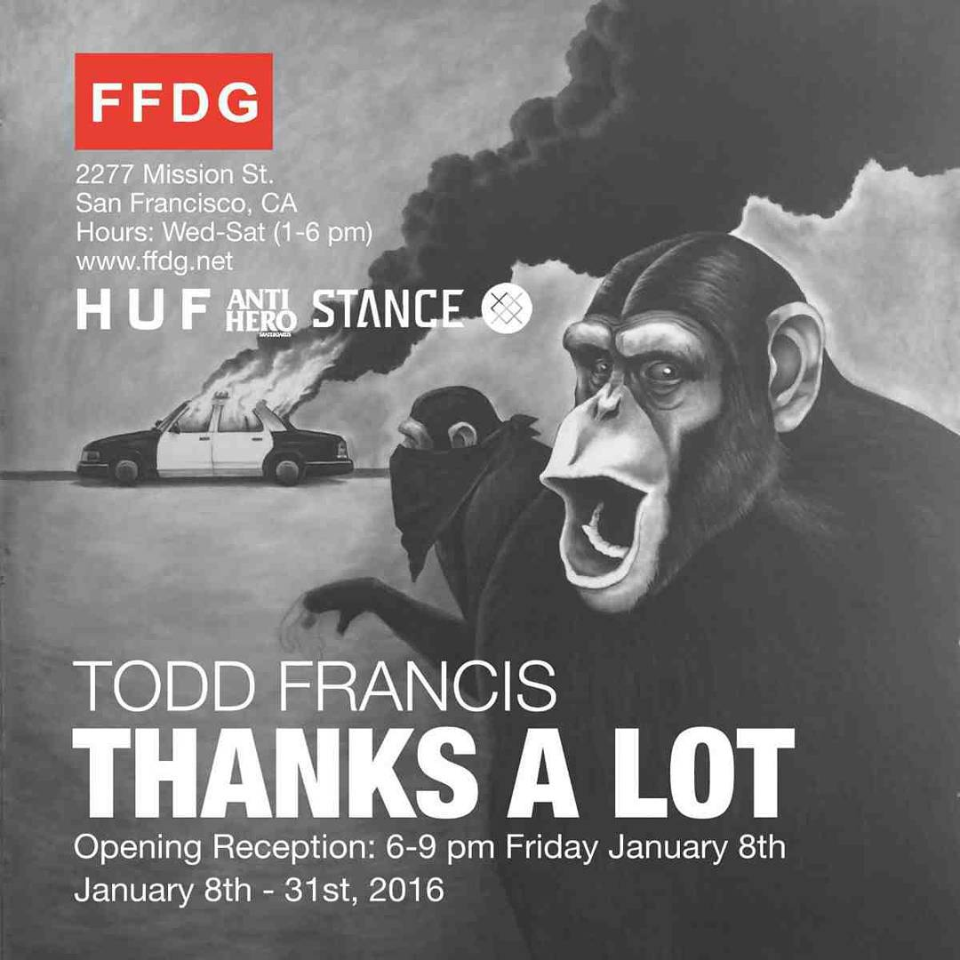 "Todd Francis's solo show ""Thanks Alot"" at Fecal Face gallery tonight!  6-9pm 2277 Mission St. San Francisco, CA  @toddfrancisart @fecalface.gallery @equaldist @ykc @stancesocks @hufworldwide @antihero18 #sanfrancisco"