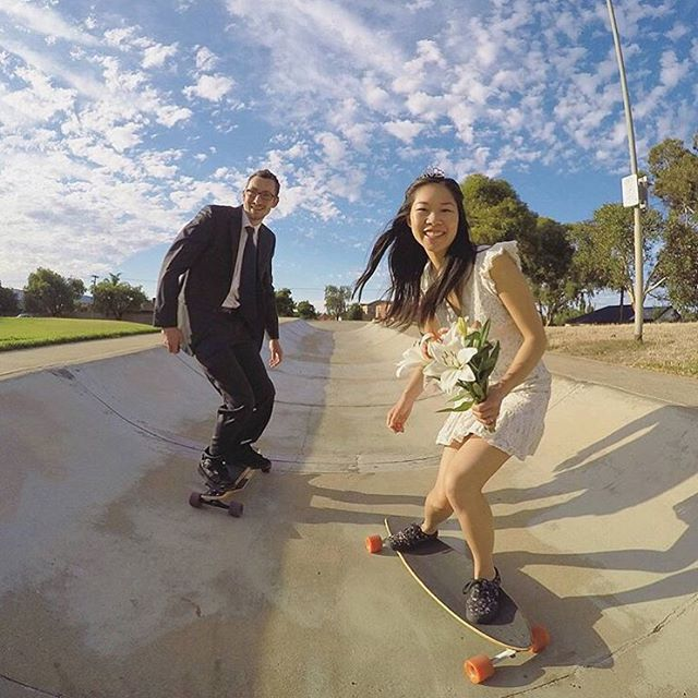 More wedding anniversaries! LGC Australia rider @florence.lang just celebrated her 10th year anniversary. This was 10 years ago! Congrats lovelies!  #longboardgirlscrew #womensupportingwomen #skatelikeagirl #weddinganniversary #radweddings...