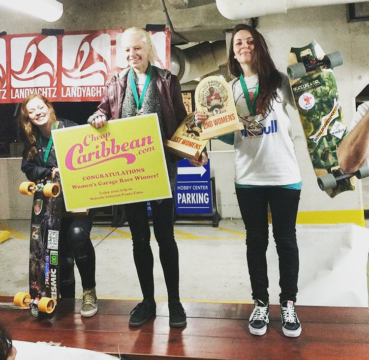 No Bull Bayou Battle is a wrap! The world's largest legal garage race happened in Houston, Texas. Big congrats to all the ladies participating and big ups to @nobull_longboarder for putting this awesome event up.  Women's Podium: 1. Kacey Moon  2....