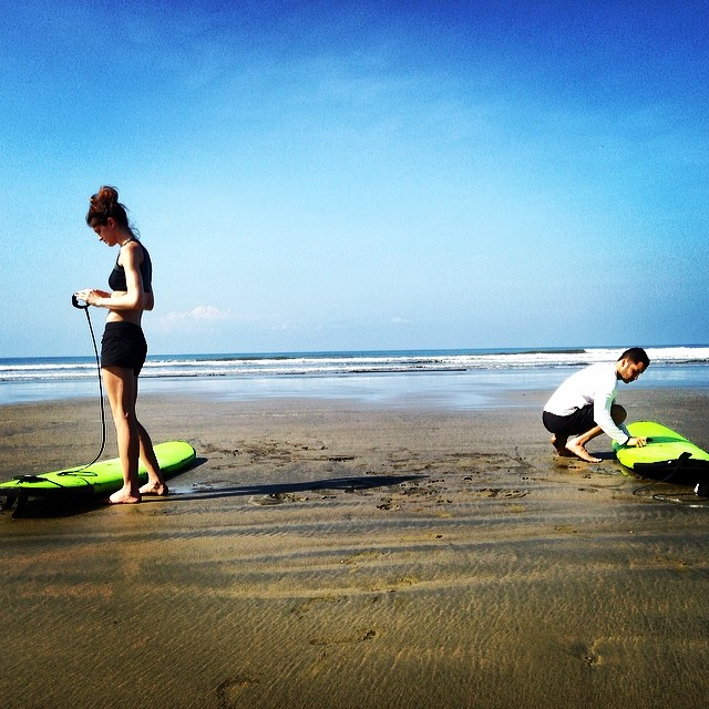 Our new friends, Kate and Lance, are going a little bit crazy for surfing. They surf after yoga class, do 2 sessions a day, and have even pushed back their return home to get in a little more surfing. We are super impressed by/stoked for them!...