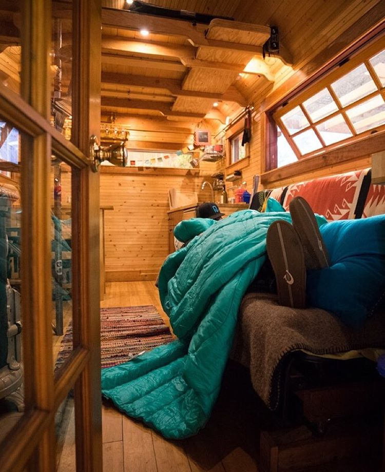 It's been a long week at @outdoorretailer, luckily @outdoorresearch has a badass tiny home we can crash. Don't mind the dude on the couch when you're trying to close sales, guys. #gorumpl