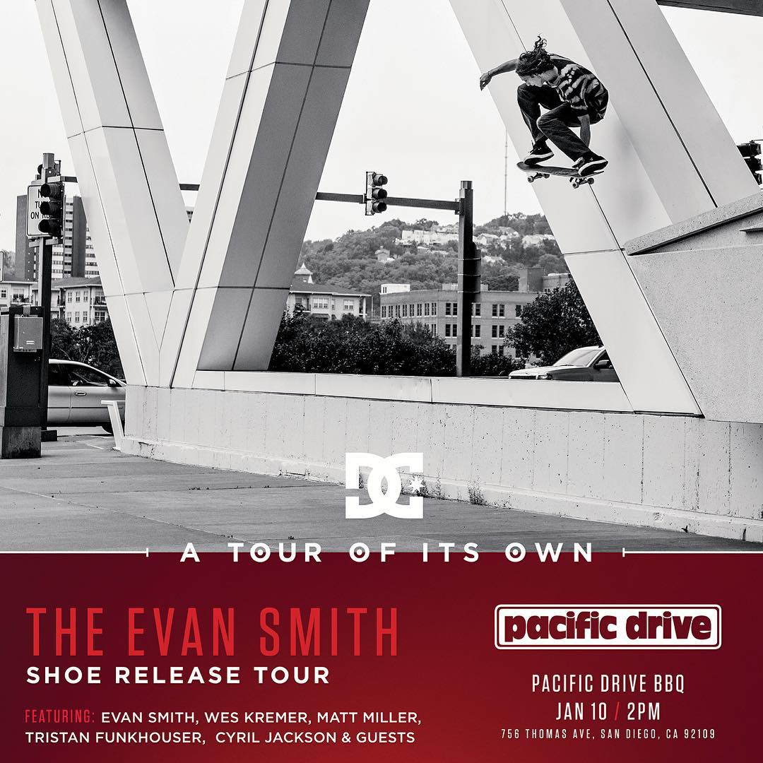 Join @starheadbody, #WesKremer, @mattmillerskate, @cyril_killa, @tfunkb and @dgkalis today at 2pm at @pacific_drive in San Diego for a slappy sesh, BBQ, and good times! Get there if you're in the area! #DCEvanSmith #DCShoes