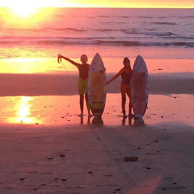Surfing until the sun goes down