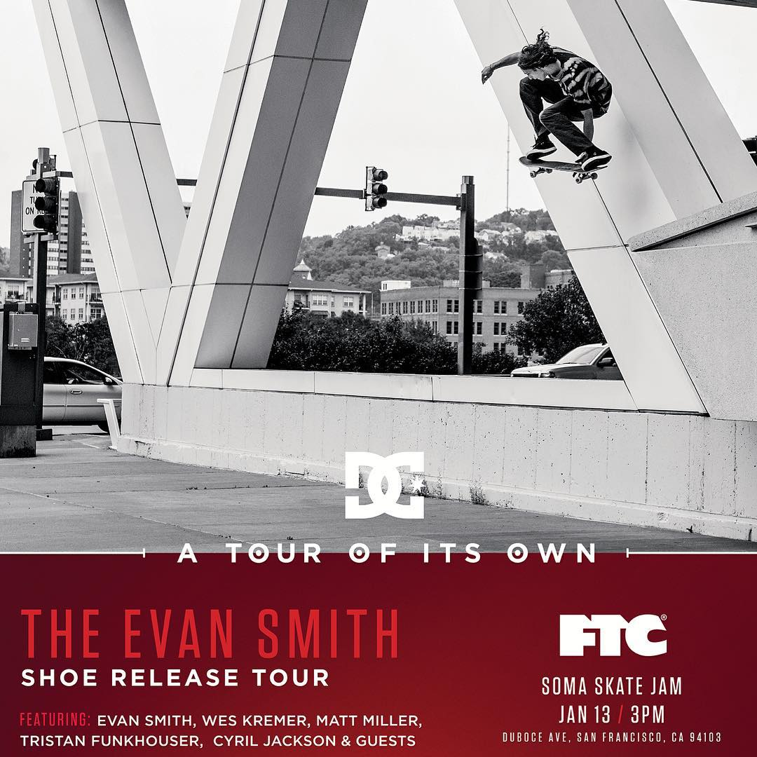 @starheadbody, @mattmillerskate, @cyril_killa, @tfunkb and #WesKremer will be at the SOMA skate park in San Francisco today at 3pm celebrating the release of Evan's new shoe with @ftc_skateboarding! Come out if you're in the area! #DCEvanSmith #DCShoes